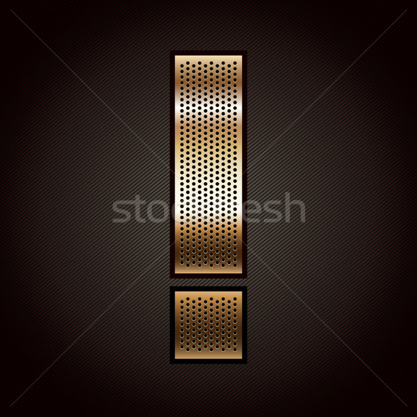 Stock photo: Letter metal gold ribbon - Exclamation mark