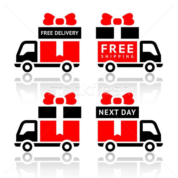 набор грузовика красный иконки бесплатная доставка дороги Сток-фото © Ecelop