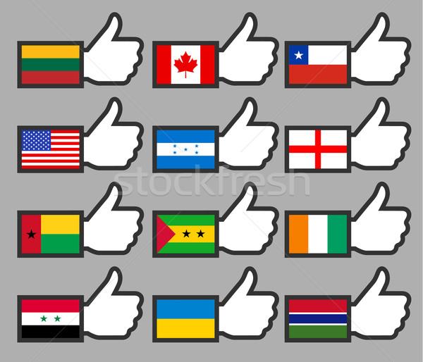 Zászlók hüvelykujjak háttér felirat utazás vidék Stock fotó © Ecelop