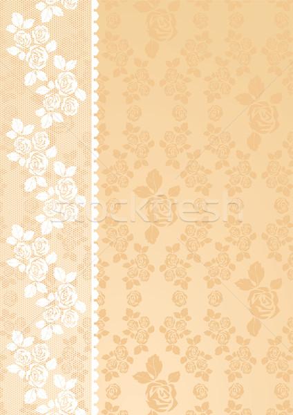 кружево бежевый роз красоту шаблон шелковые Сток-фото © Ecelop