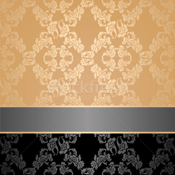 Seamless pattern, floral decorative background, gray ribbon Stock photo © Ecelop