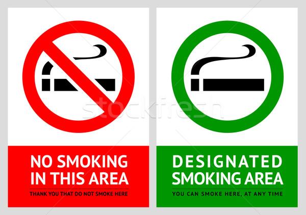 No smoking and Smoking area labels - Set 1 Stock photo © Ecelop