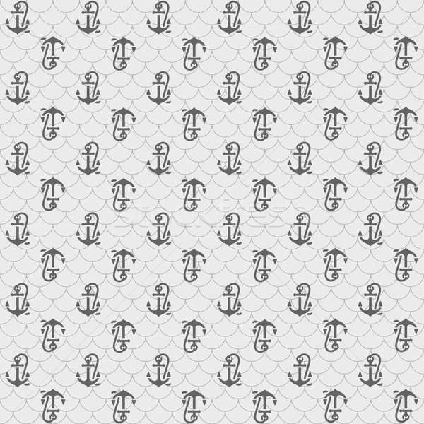Seamless patterns, gray anchors Stock photo © Ecelop
