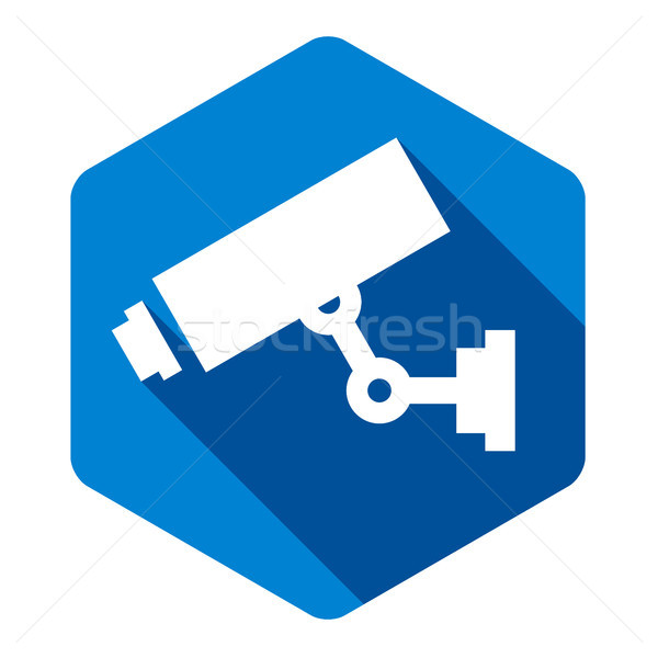 белый камеры синий шестиугольник аннотация знак Сток-фото © Ecelop