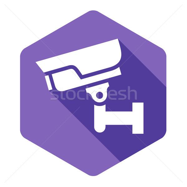Biały kamery fioletowy sześciokąt streszczenie podpisania Zdjęcia stock © Ecelop