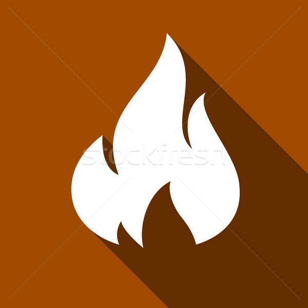 Fogo chamas conjunto ícones sombra praça Foto stock © Ecelop