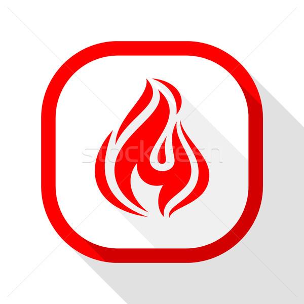 Fogo ícone praça botão chama Foto stock © Ecelop