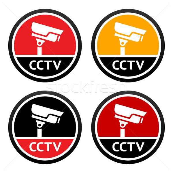 Cctv pictogram ingesteld teken bewakingscamera abstract Stockfoto © Ecelop