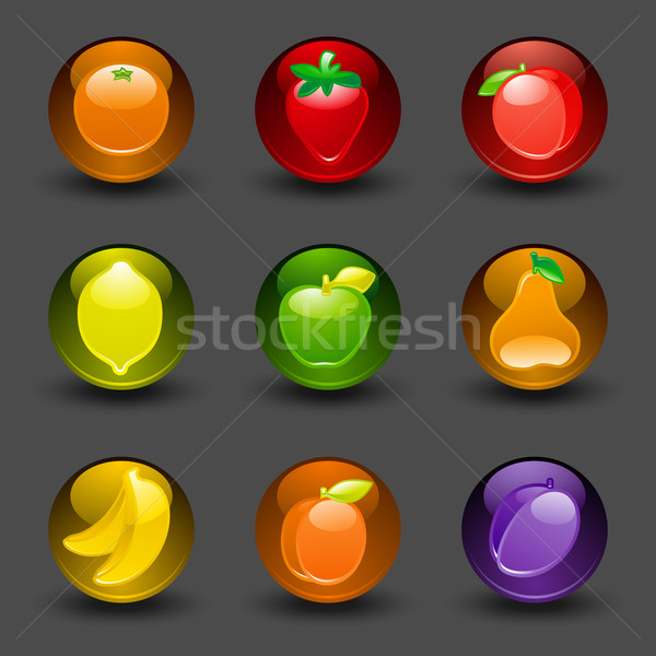 Buttons with fruit dark background with shadow Stock photo © Ecelop
