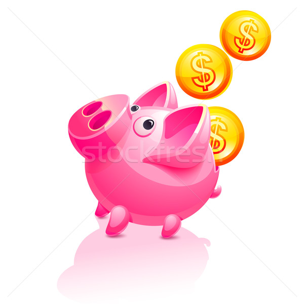 Piggy Bank and falling Money. Pig vector icon Stock photo © Ecelop