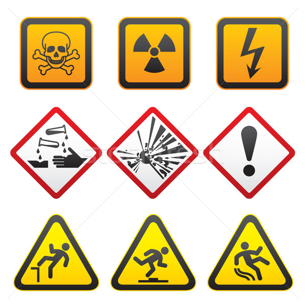 Warning symbols - Hazard Signs-First set Stock photo © Ecelop
