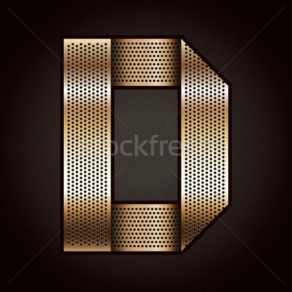 Stock photo: Letter metal gold ribbon - D
