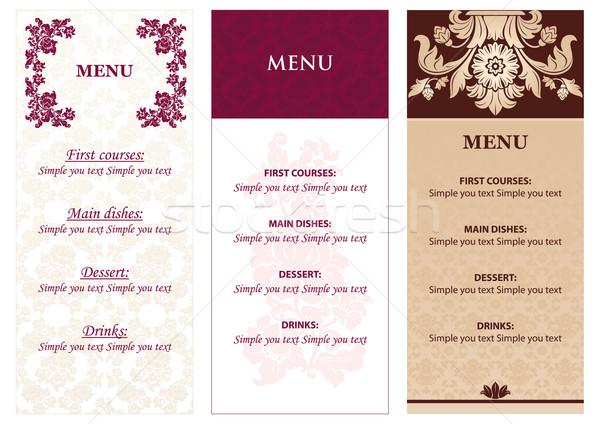 Stockfoto: Ingesteld · bloemen · menu · ontwerp · textuur