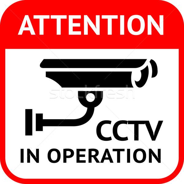 Cctv szimbólum figyelmeztetés matrica biztonság riasztó Stock fotó © Ecelop