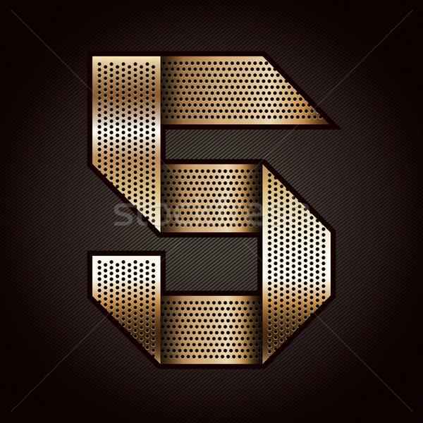 Nombre métal or ruban cinquième vecteur Photo stock © Ecelop