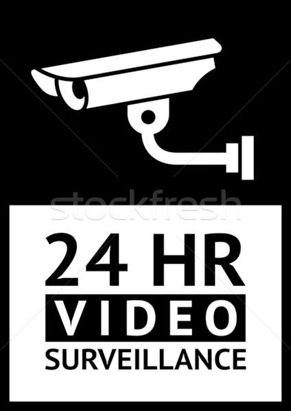 Label cctv symbool waarschuwing sticker veiligheid Stockfoto © Ecelop