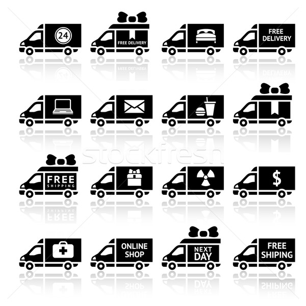 Set of Cargo trucks black icons Stock photo © Ecelop