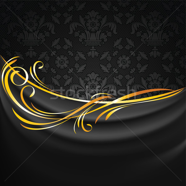 Dark fabric drapes on black ornamental background Stock photo © Ecelop