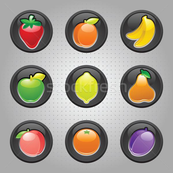 Fruits bouton noir web 20 icônes Photo stock © Ecelop