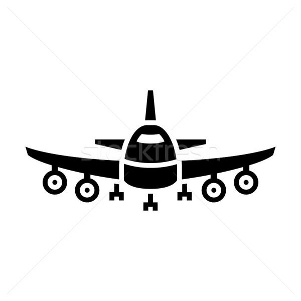 Transport ciel air noir icône isolé Photo stock © Ecelop