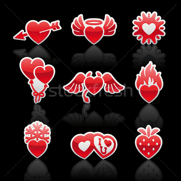 set icons of Valentine's day red hearts Stock photo © Ecelop