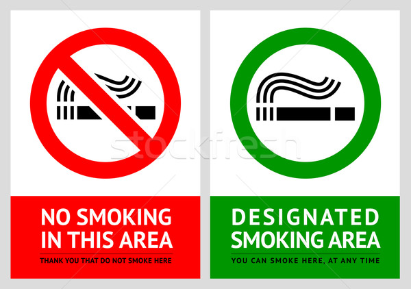 No smoking and Smoking area labels - Set 12 Stock photo © Ecelop