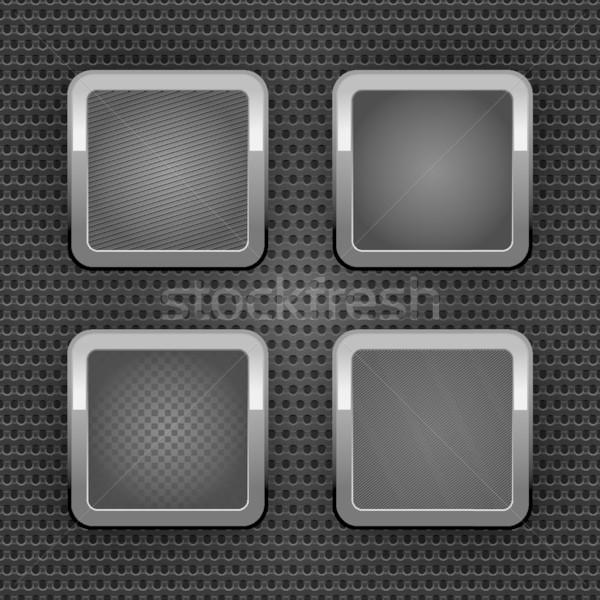 Сток-фото: набор · хром · веб · Кнопки · промышленных · лист