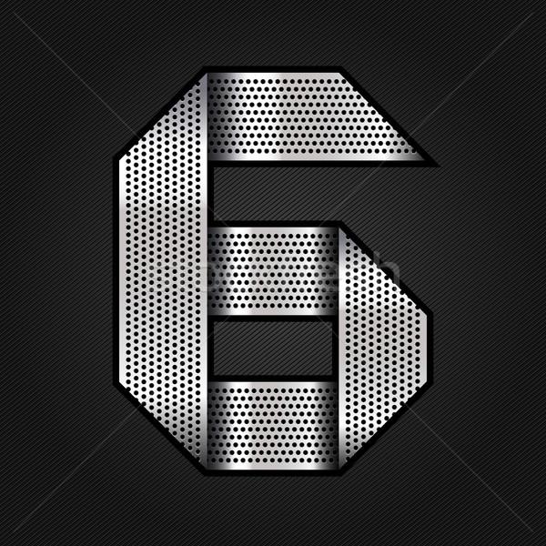 Nombre métal chrome ruban six métallique Photo stock © Ecelop