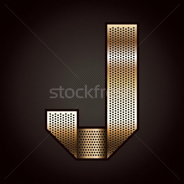 Stock photo: Letter metal gold ribbon - J