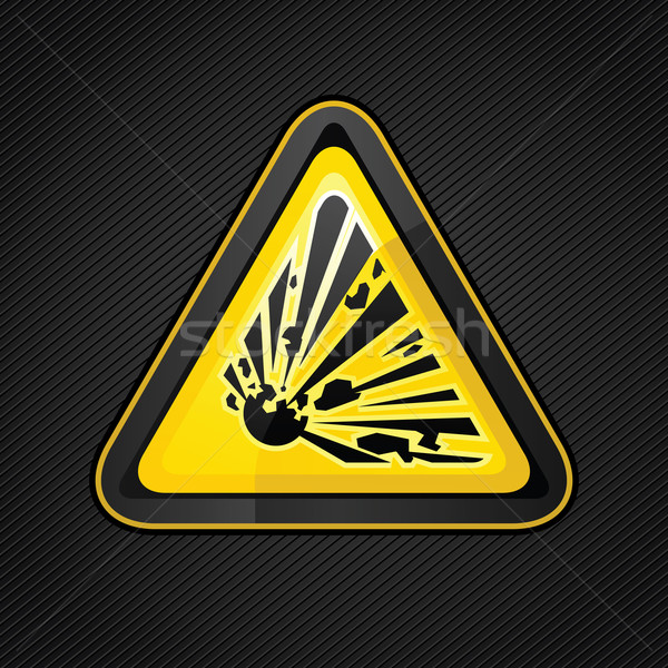 Hazard warning triangle explosive sign Stock photo © Ecelop