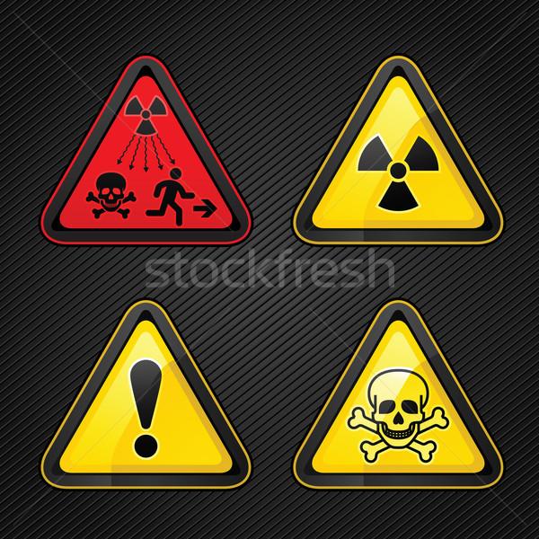 Veszély figyelmeztetés szett figyelem szimbólumok feliratok Stock fotó © Ecelop