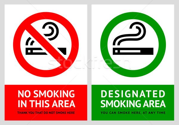 No smoking and Smoking area labels - Set 8 Stock photo © Ecelop