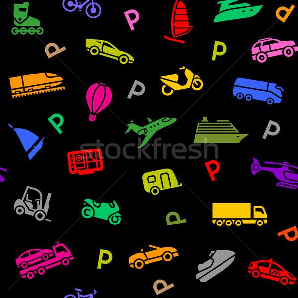 Zdjęcia stock: Bezszwowy · transportu · kolorowy · ikona · kolorowy · czarny