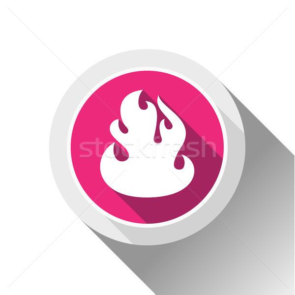 Tűz lángok gomb árnyék kör forma Stock fotó © Ecelop