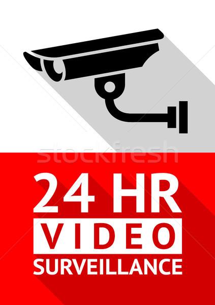 Wideo inwigilacja naklejki wydruku bezpieczeństwa podpisania Zdjęcia stock © Ecelop