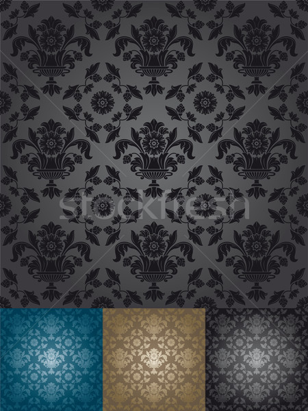 tapete muster schwarz blau blume design vektor grafiken danylo fomin ecelop. Black Bedroom Furniture Sets. Home Design Ideas