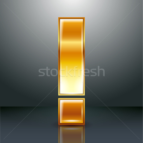 Letter metal gold ribbon - Exclamation mark Stock photo © Ecelop