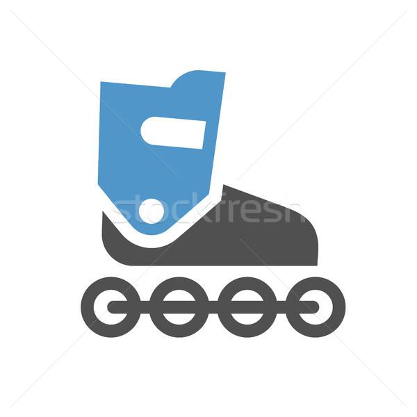 Skate icona grigio blu isolato bianco Foto d'archivio © Ecelop