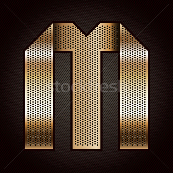 Letter metal gold ribbon - M Stock photo © Ecelop