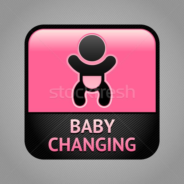 Szimbólum baba szoba nyilvános információ jel nők Stock fotó © Ecelop