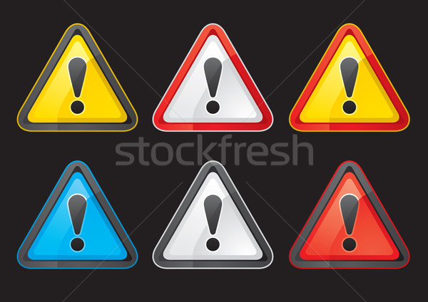 Set Hazard warning attention sign color Stock photo © Ecelop