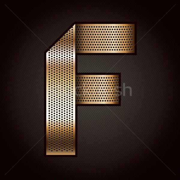 Stock photo: Letter metal gold ribbon - F