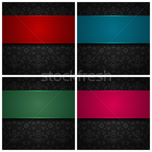 Set ornament template fabric texture, color ribbons Stock photo © Ecelop