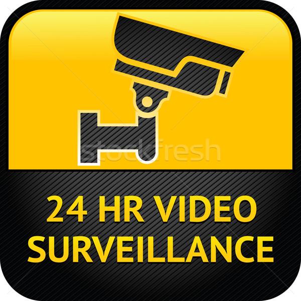 Wideo inwigilacja podpisania cctv etykiety ostrzeżenie Zdjęcia stock © Ecelop