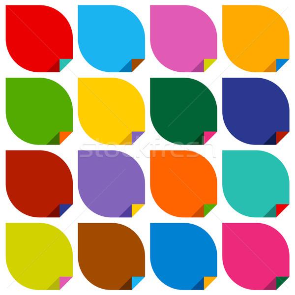 Zestaw 16 naklejki kolorowy przestrzeni zielone Zdjęcia stock © Ecelop