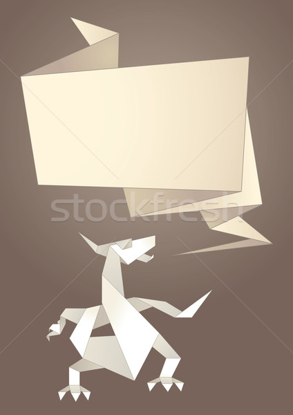 Paper origami speech bubble, dragon Stock photo © Ecelop