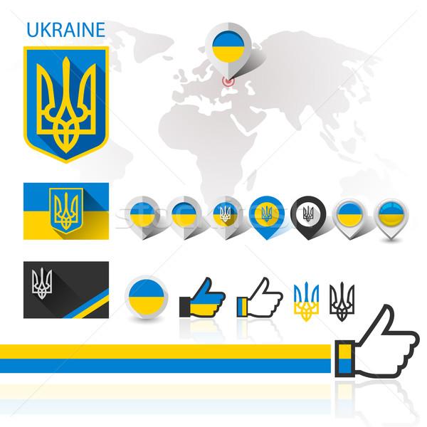 Zászló embléma Ukrajna világtérkép kabát karok Stock fotó © Ecelop