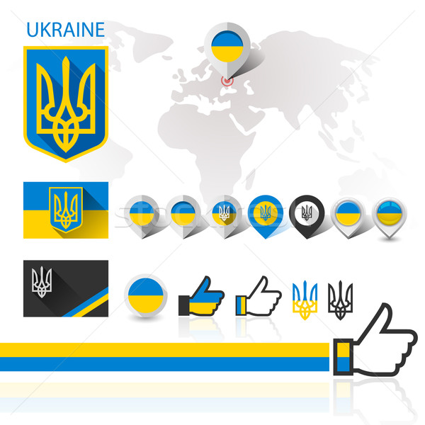 Bandera emblema Ucrania mapa del mundo abrigo armas Foto stock © Ecelop