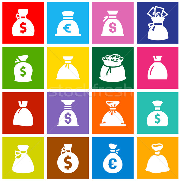 Money bags, set icons on colored squares Stock photo © Ecelop