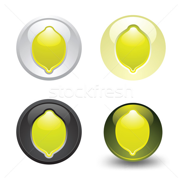 Citron bouton web 20 icônes Photo stock © Ecelop